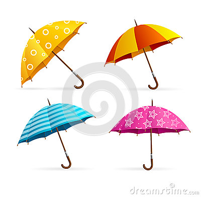 Realistic Open Colorful Umbrellas Set. Vector Vector Illustration
