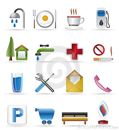 Free Realistic Petrol Station And Travel Icons Royalty Free Stock Photos - 9947998