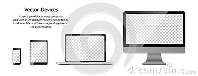 Realistic Phone, Tablet, Laptop and Computer monitor with transparent screen on blank background Vector Illustration