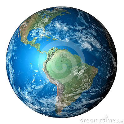 Photo realistic planet Earth isolated on white