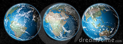 realistic planet earth on space