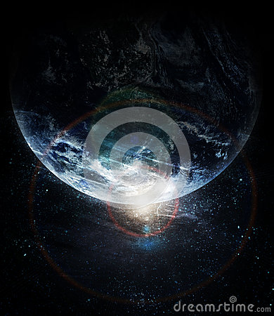 Realistic planet earth in space Stock Photo