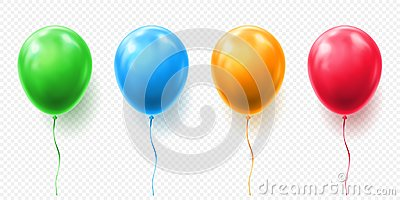 Realistic red, orange, green and blue balloon vector illustration on transparent background. Balloons for Birthday Vector Illustration