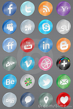 Realistic reflect social media icons Editorial Image