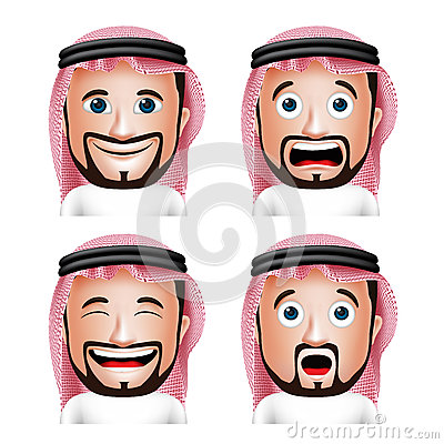 Free Realistic Saudi Arab Man Head With Different Facial Expressions Royalty Free Stock Photo - 57837535