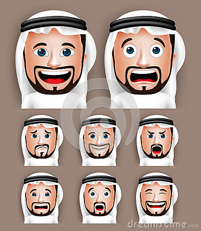 Free Realistic Saudi Arab Man Head With Different Facial Expressions Royalty Free Stock Photography - 57837537