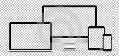 Realistic set of electronic devices, black display, laptop, tablet and phone with empty screen. Vector Illustration