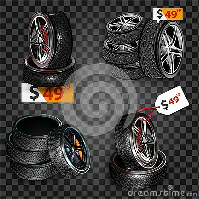 Free Realistic Shining Disk Car Wheel Tyre Set Isolated. Auto Garage Wheels Disk Montage And Installation Winter Tires Replacement Serv Royalty Free Stock Photography - 127181057