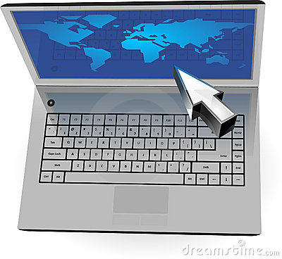 Realistic silver laptop with blue map and cursor