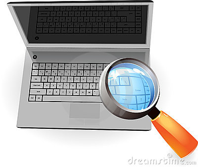 Realistic silver laptop and magnifying glass