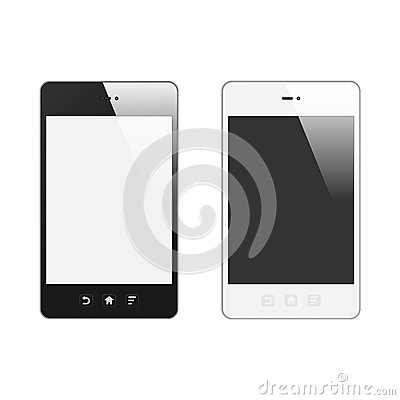 Realistic Smart Phone With Blank Screen. Set