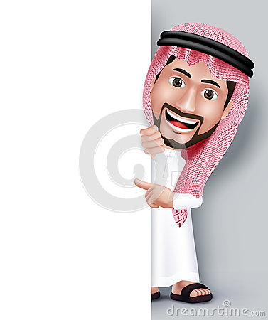 Free Realistic Smiling Handsome Saudi Arab Man Character Royalty Free Stock Photography - 54731367