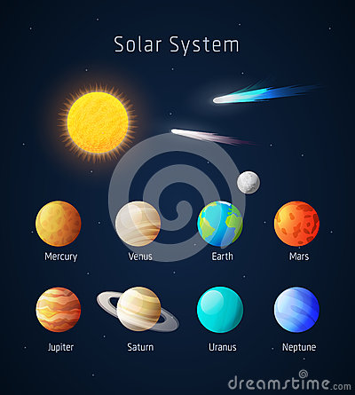 Realistic Solar System Objects, Vector Stock Vector ...