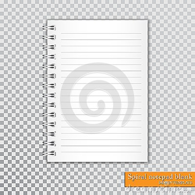 Free Realistic Spiral Notepad Blank On Transparent Background. Vector Stock Photography - 109655492
