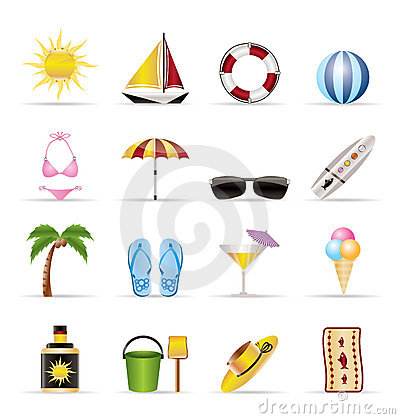 Free Realistic Summer And Holiday Icons Stock Photo - 9655530