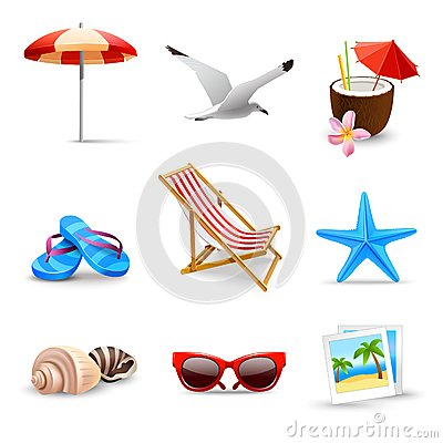 Free Realistic Summer Vacation Icons Royalty Free Stock Photography - 40174877
