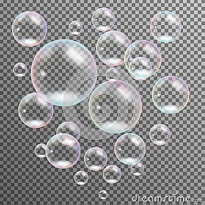 Realistic transparent multicolored soap bubbles  vector