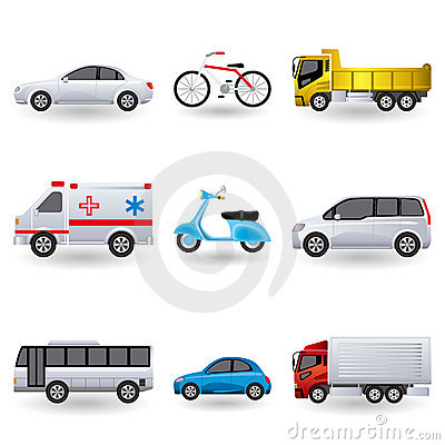 Realistic transportation icons set
