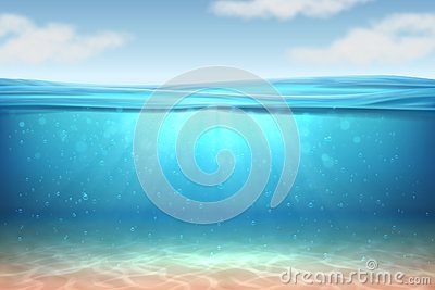 Realistic underwater background. Ocean deep water, sea under water level, sun rays blue wave horizon. Surface 3D vector Vector Illustration