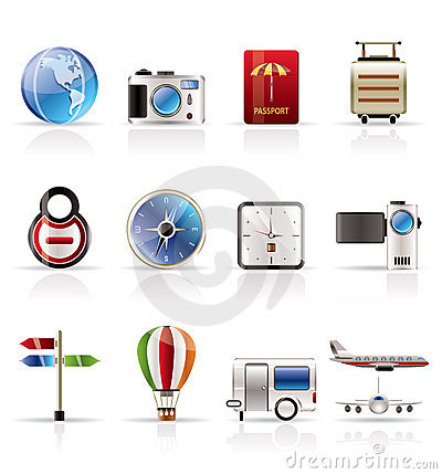 Realistic, Vacation, Holiday and Travel Icons