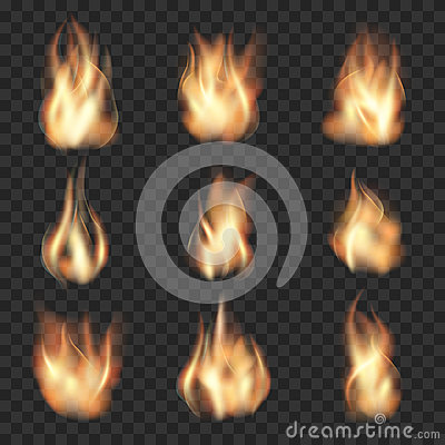 Free Realistic Vector Fire Flames On Checkered Stock Photography - 64108342