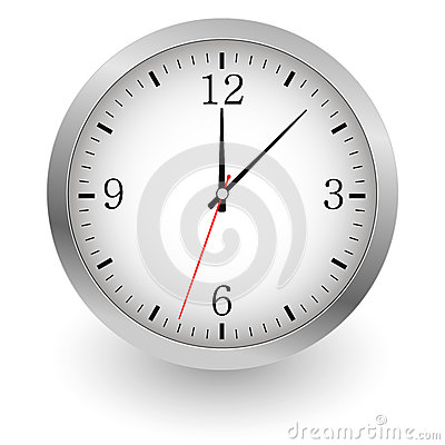 Realistic vector illustration of wall clock. Vector Illustration