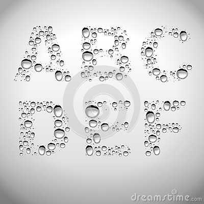 Free Realistic Water Drops Font From A To F Royalty Free Stock Images - 31082649