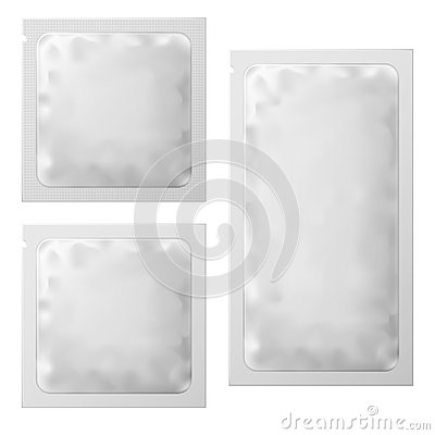 Free Realistic White Blank Sachet Template Packaging. Condom Or Foil Wet Wipes Pouch Medicine Packet. Vector Illustration Stock Photos - 106376543