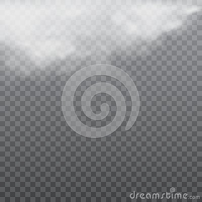 Realistic white clouds or fog on transparent background. Vector Vector Illustration