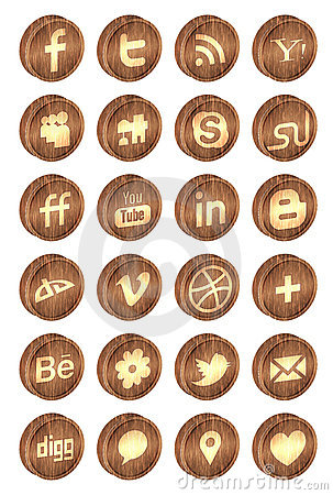 Realistic wooden social media icons Editorial Photo