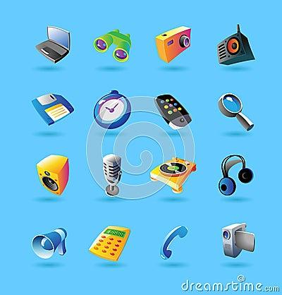 Realistische pictogrammen die voor apparaten worden geplaatst