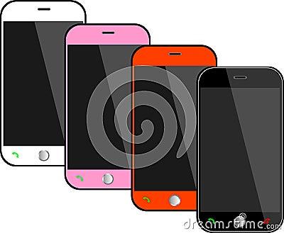 Realistiska svarta mobiltelefoner