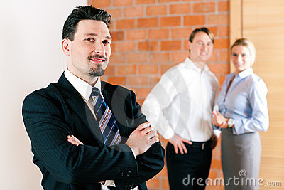 Realtor in apartment with couple