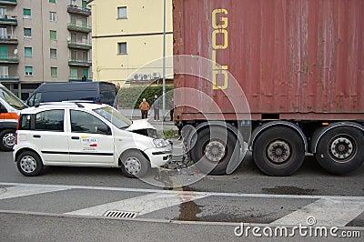 A rear-end collision Editorial Stock Photo
