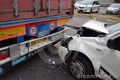 A rear-end collision Editorial Stock Photo