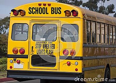 Rear end of yellow school bus