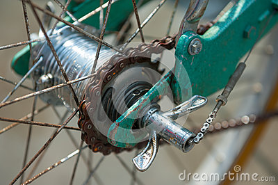 Rear hub of old bicycle