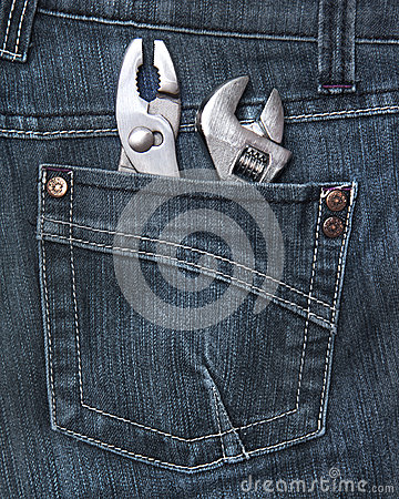 Rear jeans pocket with tools