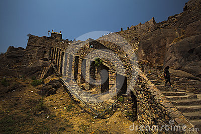Rear section view upper Golconda Fort, Hyderabad Editorial Photography