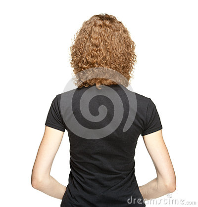 Rear veiw portrait of young woman