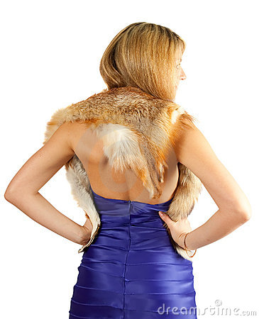 Rear veiw of woman with fur