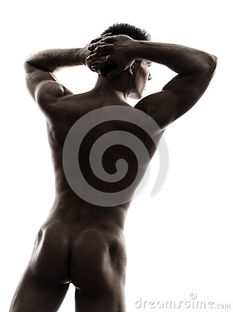 Rear view back handsome naked muscular man silhouette