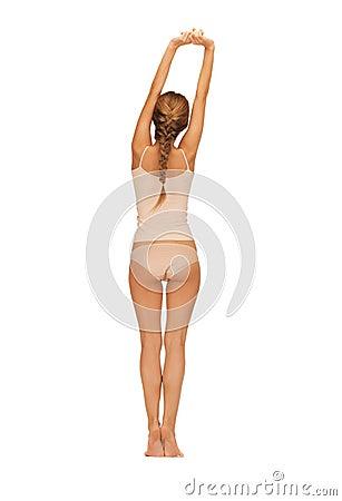 Rear view of beautiful woman in cotton undrewear