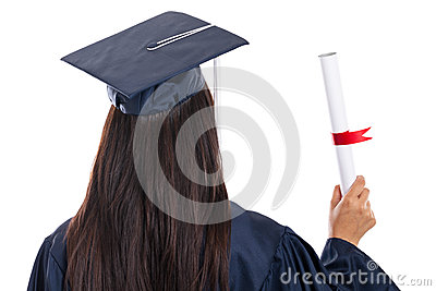 Rear view of college graduate