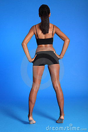 Rear view fit african american sports womans body
