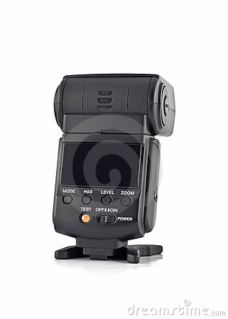 Rear view of flash for digital camera isol