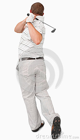 Rear view of golfer
