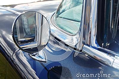 Rear-view mirror of retro car