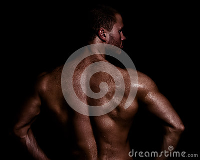 Rear view of muscular man