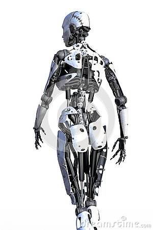 Free Rear View Of A Female Robot Isolated Stock Image - 138398131